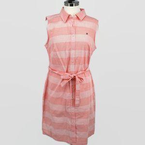 Tommy Hilfiger 16 Pink White Stripe Shirt Dress